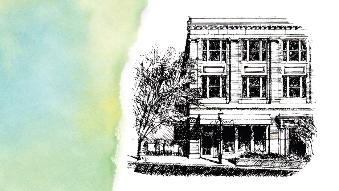 line drawing of store
