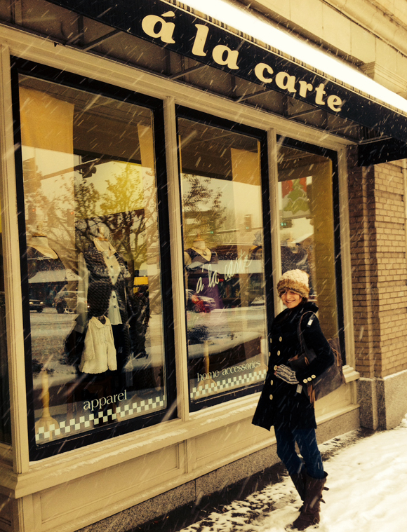 snowy store front
